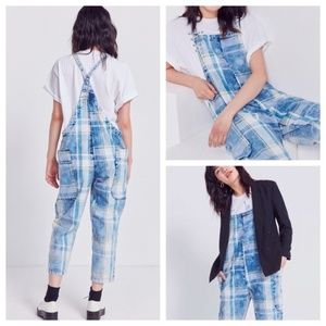 UO BDG Vintage Plaid Cropped Overalls Jumpsuit XS